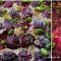 Clafoutis aux griottes et aux pistaches.