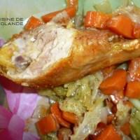 Poulet rôti à l'embeurrée de choux vert.