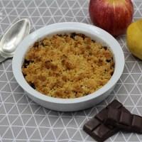 Crumble Pommes Poires au chocolat