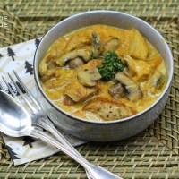 Blanquette de dinde au potimarron et au curry .